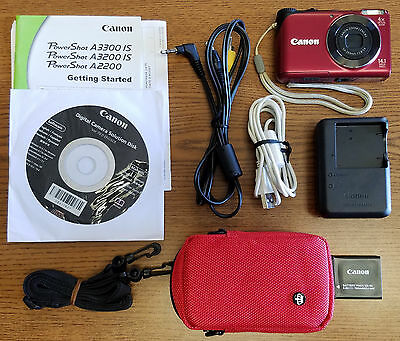 Canon PowerShot A2200 14.1 MP Digital Camera - Red - EXCELLENT USED