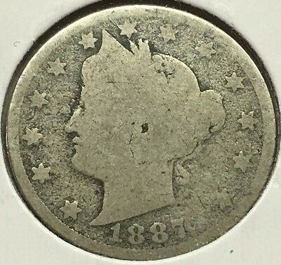 1887 Liberty V Nickel Full Date Rare U.s. Coin * Free Bubble Shipping & Tracking
