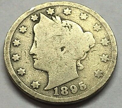 1895 Liberty V Nickel * U.s. Coin * Free Bubble Shipping With Tracking
