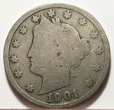 1901 Liberty V Nickel * U.s. Coin * Free Bubble Shipping & Tracking