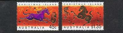 STAMPS AUSTRALIA CHRISTMAS ISLAND 2002 45c & $1.35 YEAR OF THE HORSE (MNH} C33