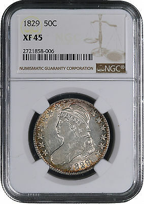 1829 Capped Bust Silver Half Dollar 50C - NGC XF45 -