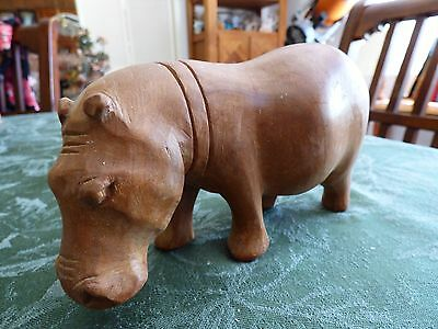 African Hippopotamus Wood Figurine Statue Carved Wooden  #2