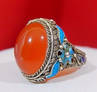 ANTIQUE CHINESE EXPORT 20's CARNELIAN STERLING SILVER ENAMELED LARGE RING ADJ.