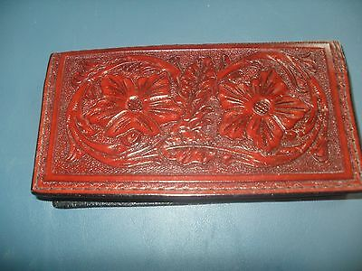 Check Book Cover Leather HANDMADE FLORAL design DARk Brown & darker NEW