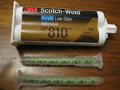 One New 3M Scotch-Weld Acryli Adhesive Dp-810  03/18 1.6 Oz With 2 Mixing Nozzle