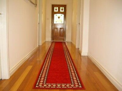 Hallway Runner Hall Runner Rug Modern Designer Red 4 Metres Long FREE DELIVERY
