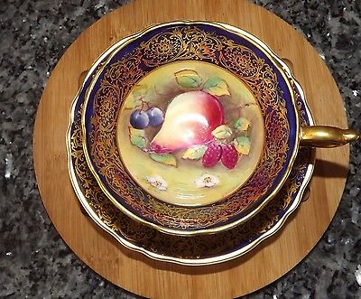 Rare Cobalt Blue Paragon  Tea Cup & Saucer With Hand-Painted Fruit Signed
