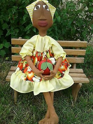 "Primitive Folk Art 32"" Black doll ""Rebekka"" Apple Summer OOAK"