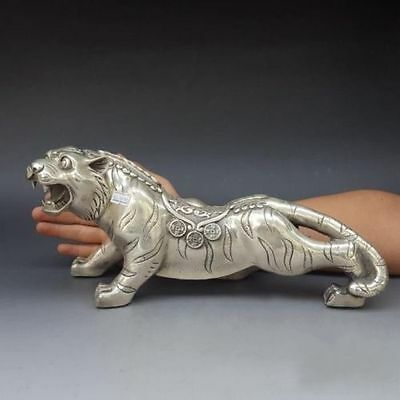 China FengShui Silver Auspicious Carved Wealth Money Coin Tiger Statue
