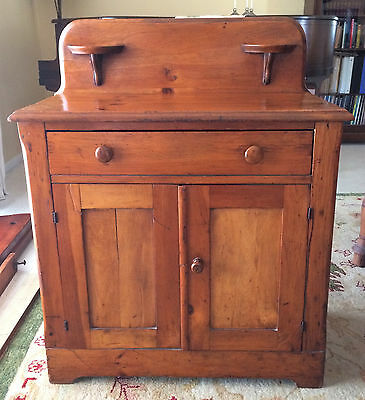 Antique American Pine Drawer & Cabinet Washstand 1800's Nightstand End Table