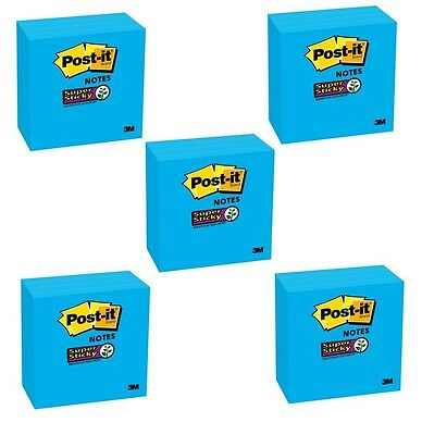 5 Packs 3M Post-It Super Sticky Notes 3 x 3-inch Blue (1800 sheets) Plant Based