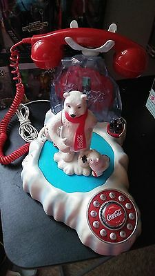 Vintage Coca Cola Animated Musical  Light-Up Ice Skating Polar Bear Phone