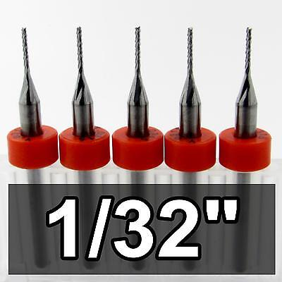 "(5) 1/32"" Carbide Router Bits * Fish Tail Tip * .197 LOC CNC MDF G10 R105"