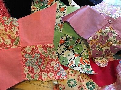 Moprimitivepast 22 Vintage 1930 Feedsack Fabric  8 Star Quilt Blocks Lot Greens