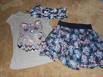 Girls Justice Blue/Gray Owl Floral Skirt Outfit 3 Pieces Size 10