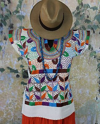 Cream & Multi-Color Corn Motif hand embroidery Huipi Blouse Mexican Hippie Boho