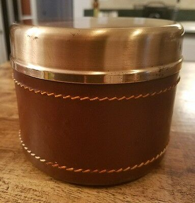 Vintage DUK-IT Buffalo Copper Leather Humidor Cigar Tobacco Container