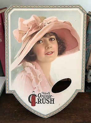 Scarce 1920s Ward's Orange Crush Advertising Fan Beautiful Girl with Pink Hat