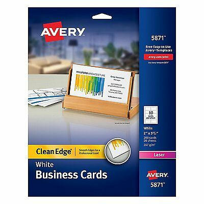 Avery Business Card Office Supplies Printer Paper White Paper 2 Sided Card New
