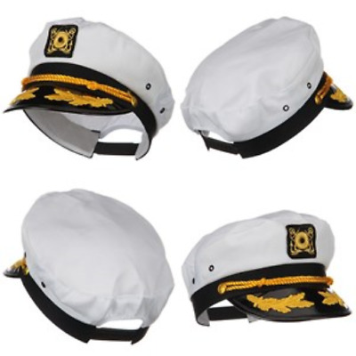 960baad9b93 Boat Captain Hat Sailor Admiral Classic Cap Ship Yacht Navy Marines White  Gold