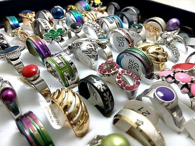100 Mix lot Men Women Fashion Stainless Steel Rings Alloy ring Wholesale Jewelry
