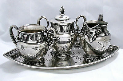 1875 Aesthetic Assyrian Mithologycal Goddes James W Tufts Service Tea Guest Set