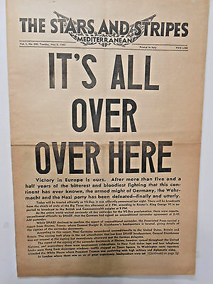 !!!!! Newspaper!!!! IT'S ALL OVER, OVER HERE!! WWII1945 !! VICTORY SURRENDER