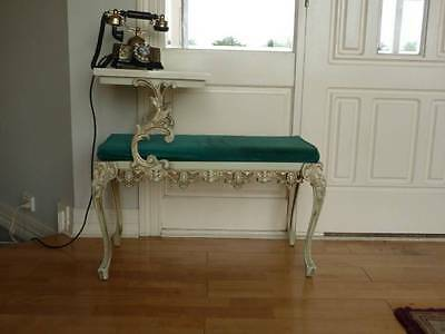 Vintage French  Paris Apt Style Cream & Gold Seat Table Faux Marble
