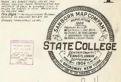 State College, Pennsylvania - Sanborn Maps© - 3 sheets on CD - 1906 Penn State!