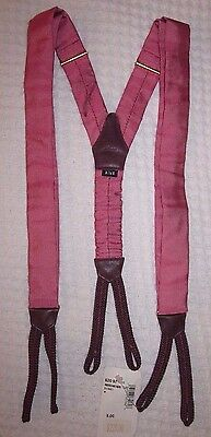 Charvet Adjustable  Silk Classic Suspenders With Leather Tabs