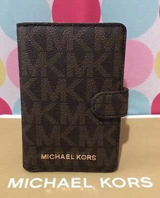 NEW Michael Kors Signature Jet Set PVC Passport Case Holder in Brown  $98