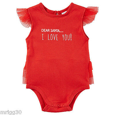 Baby Girls size 00 Dear Santa red CHRISTMAS summer Bodysuit  3 -6 mths NEW FADE