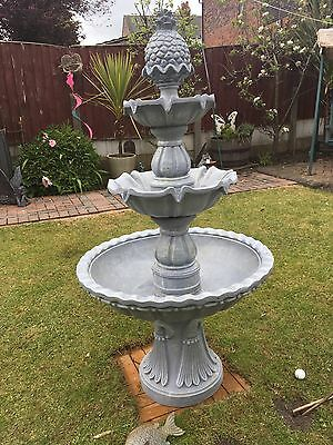 Elegant 3 Tier Water Fountain Feature Grey Classical Detailed Stone Effect Bowl