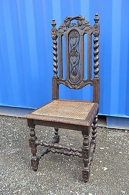 Antique Victorian Carved Oak Chair Gothic Hall Dining Chair to Restore Fix Up