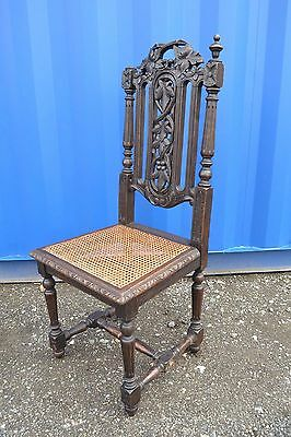 Antique Victorian Carved Oak Chair Gothic Hall Side  Chair to Restore Fix Up