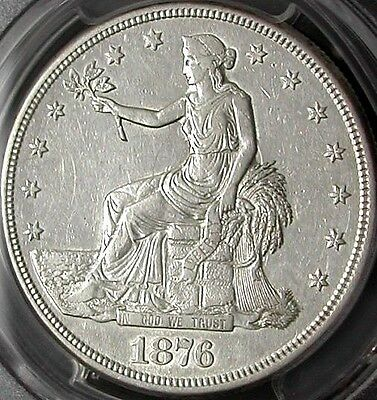 1876-S Pcgs Xf45 Trade Dollar - White / Clear Surfaces / Rare In This Condition