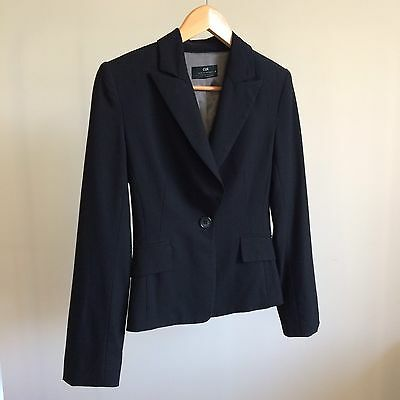 CUE suit blazer size 6 black corporate work office fitted