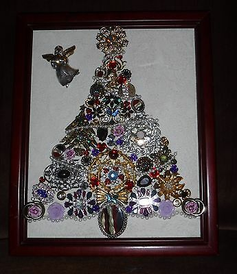 Jewelry Art Christmas Tree, With Angel, Signed by Artist, one of a Kind!