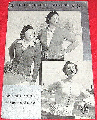 PATONS GLENGARRY Knitting Pattern..1940's CARDIGAN WITH 3 NECKLINES VINTAGE