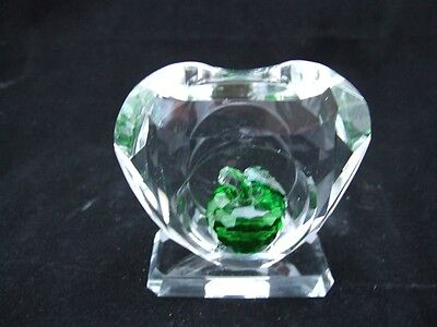 Crystal Heart Green Crystal Apple Ornament.