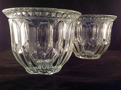 VINTAGE Set Of 2 GLASS CRYSTAL Planter JARDINIERE Art Deco HOLLYWOOD REGENCY