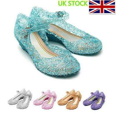 UK Kids Girl Crystal Jelly Sandals Princess Frozen Elsa Cosplay Party Shoes Size