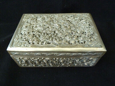 Antique Chinese White Metal Reticulated Box - Signed . Qing 19thC