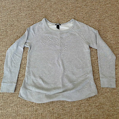 H & M Mama Grey Boat Neck Long Sleeve Sweatshirt Front Design Size M