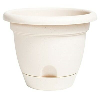 "Bloem Lucca Planter with Attached Tray, 12"", Taupe"