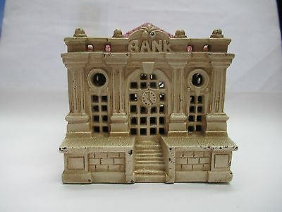 Vintage Cast Iron Building With Red Roof Bank, 290-L