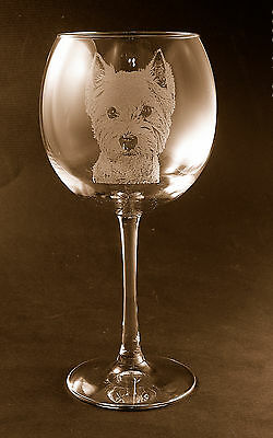 New! Etched West Highland Terrier/Westie on Elegant Red Wine Glasses (set of  2)