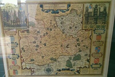 Map of Surrey by John Speede Large Vintage for Surrey County Council 1970