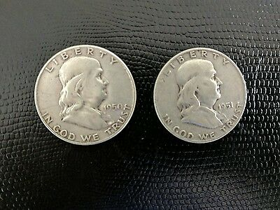 Franklin Half Dollars - lot set of circulated -  1950 1951d